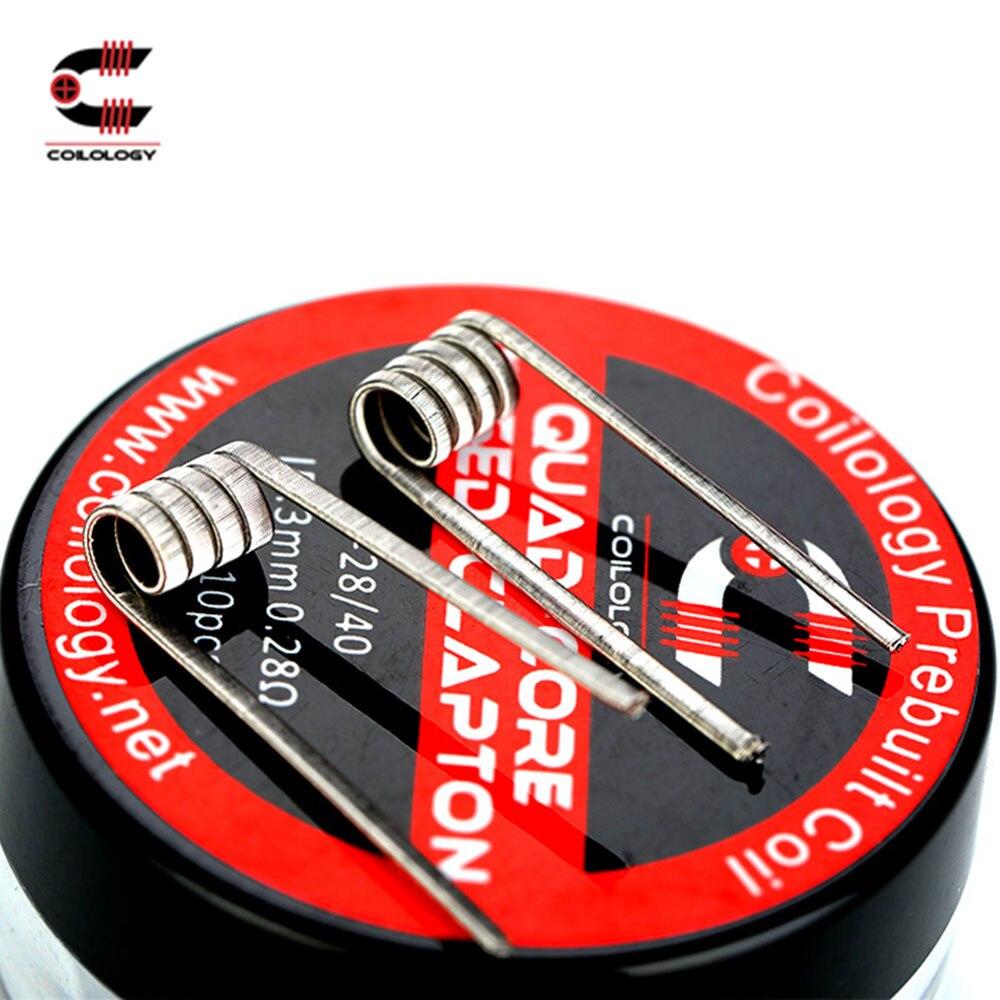 100% D'origine Coilology Quad Core Fusionné Clapton Pré-fait Bobine 10 pcs/pack avec Ni80 0.28ohm Résistance Pour Amateurs de BRICOLAGE e-cigarette