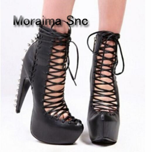 Moraima Snc Woman Boots Sexy High Heel Boots Strange Heel Rivet Shoe Platform Shoes Woman Front Lace-Up Rivets Decor Ladie Boots black sexy lace crossover front bralette top