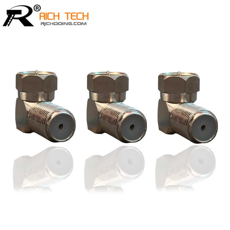 3PCS LOT NEW ARRIVAL ANGLE TV CONNECTOR WHOLESALE F MALE TO F FEMALE RIGHT ANGLE CONNECTOR