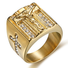 Hip hop US 6 to15 size Vintage Gold color Holy Cross Signet Ring Prayer Christian Jesus White Cub Zirconia Wedding Finger Ring