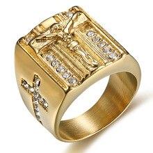 Hip hop abd 6 to15 boyutu Vintage altın renk kutsal çapraz Signet yüzük namaz hıristiyan İsa beyaz yavru zirkonya düğün parmak yüzük