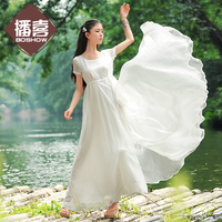 LYNETTE'S CHINOISERIE 2016 summer women's loose style drawstring short sleeve chiffon one piece dress