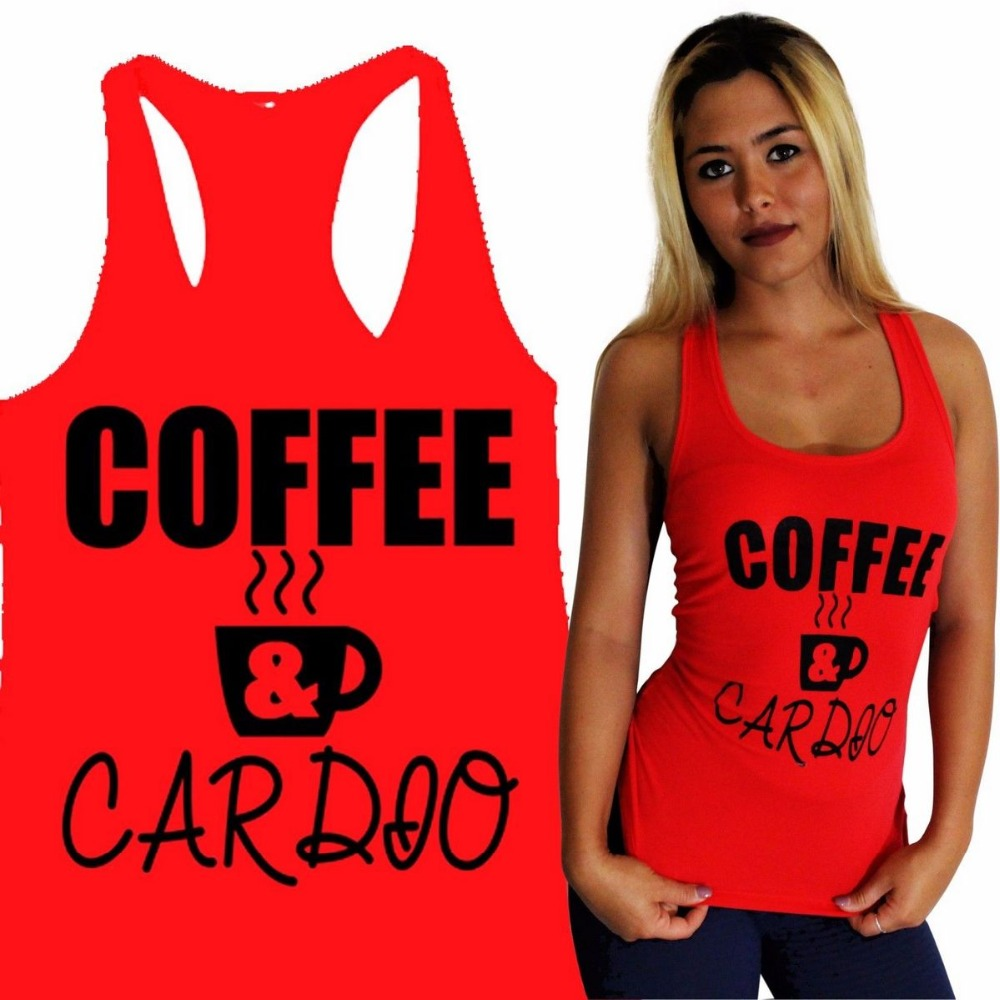 Orderly Coffee & Cardio Women Yoga Tank Gym Fitness Clothes Squat Workout Cute Funny Top Tees Shirt Exquisite Traditional Embroidery Art