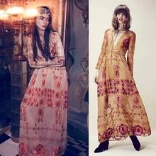 Fashion women lusted barcelona maxi dress ladies plunging neckline satin chiffon seaside holiday bench dress deep v neck dress