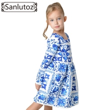 Flower Girl Dress Winter 2016 Toddler Children Clothing Brand Kids Clothes for Girls Long Sleeve Vintage Fashion Wedding Party