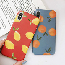 Cartoon Fruit Orange Hard Shell Phone Case For iPhone7 8 6S 6 PC Orange Vintage Lemon Drop  Phone Case For iPhoneX XR XS XSMAX