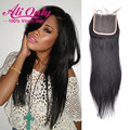 Cheap Brazilian Straight Closure 7A Brazilian Virgin Hair Alionly Human Hair Lace Closure 4*4inch  Middle Part Free Part Closure