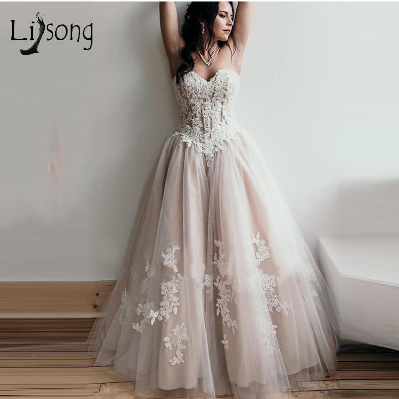Romantic Nude Pink Lace Wedding Dresses 2019 Corset Top Appliques A Line Wedding Gowns Lace Up Vestido De Noiva Wedding Dresses Aliexpress,Sparkly Glitter Ball Gown Wedding Dress