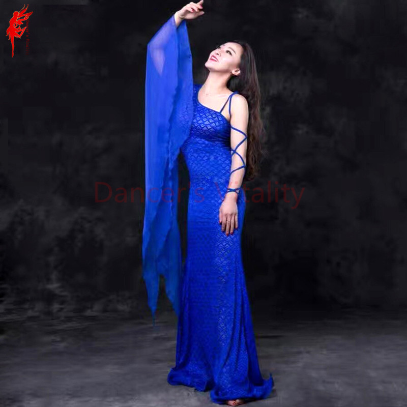 Women belly dance clothing lace elegant belly dance dress forMaster Performance belly dancing clothes dress single sleeves dress