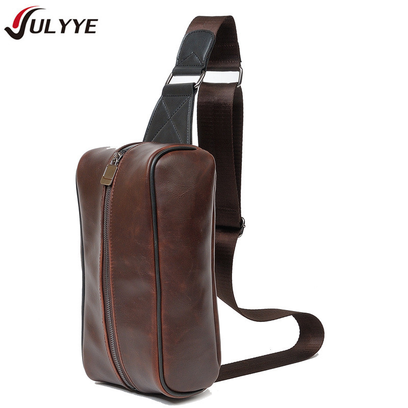 YULYYE New Fashion Men Chest Pack Simple Shoulder Strap BackBag Leather Travel Bag Men Convenient Bags Multifunction Rucksack
