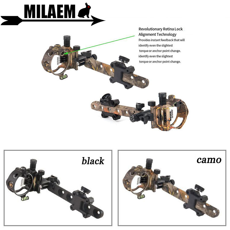 Archery Compound Bow Sight Retina Micro Adjust Sight 0.019 Fiber Optic 5 Pins /7 Pins Outdoor Sports Shooting Accessories