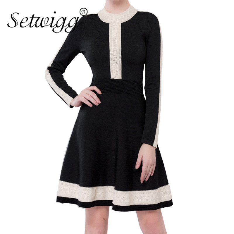 SETWIGG Women Autumn Long Sleeved Knit Fit & Flared Single-piece Midi Dress O Neck Patchwork Pull-over Knitted Skater Dress zip back fit and flared plaid dress