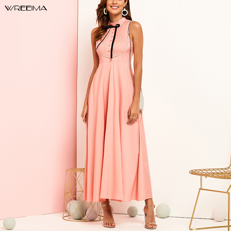 wreeima Bow Detail Pleated Front Fit and Flare Stand Pink Women Dress 2019 Sleeveless Ladies Elegant Summer Maxi Dress