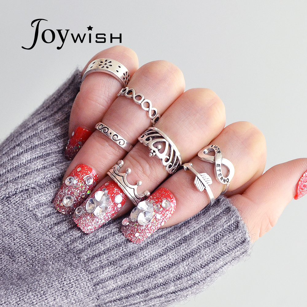 Joywish 7 Pcsset Bohemian Jewelry Antique Silver Color With Flower