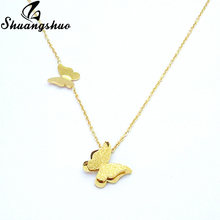 Shuangshuo Gold Animal Butterfly Pendant Necklaces For Women Stainless Steel Link Chain Necklace Choker collier femme 2019(China)