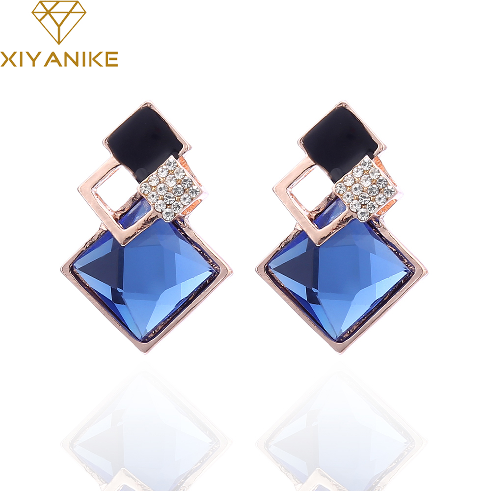 New Brand Charm Design Korean Jewelry Hypoallergenic Navy Blue Imitate  Rhinestone Crystal Statement Earrings For Women