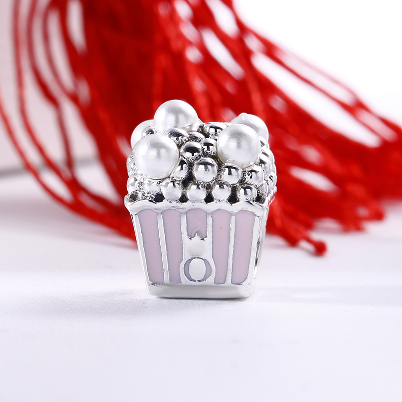 2018 Summer 925 Sterling Silver Delicious Popcorn Pearl Charm Fit Original Pandora Bracelet Charms Bead for Jewelry Making strollgirl car keys 100% sterling silver charm beads fit pandora charms silver 925 original bracelet pendant diy jewelry making