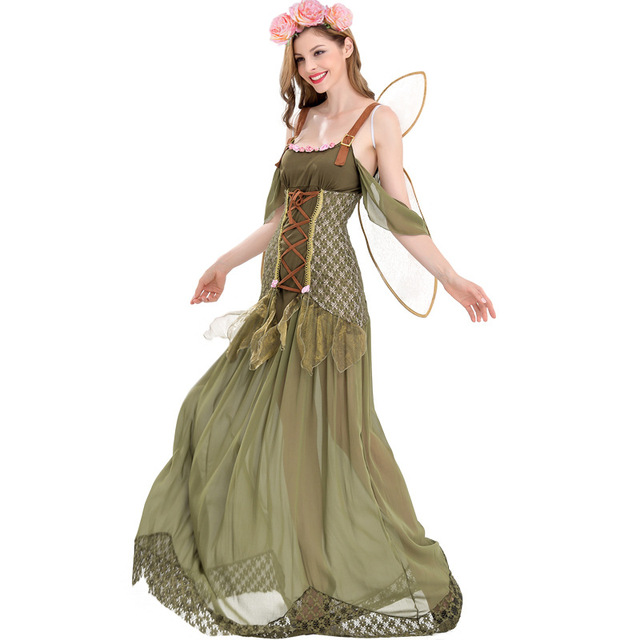 Fashion New Most Popular Classic Halloween Cosplay Costume Women Green Flower Fairy Princess Costume  sc 1 st  AliExpress.com : fairy costumes women  - Germanpascual.Com
