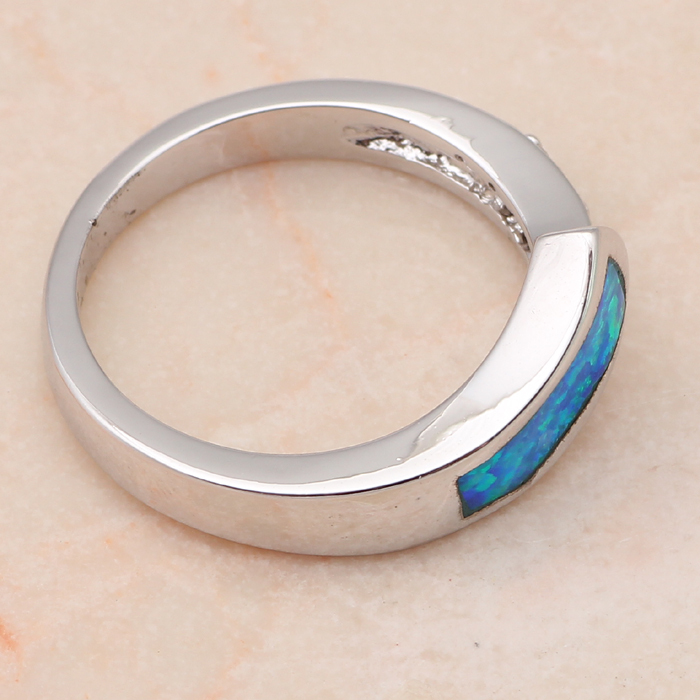 Popular Wholesale & Retail Zirconia Party gifts Blue Fire Opal Silver Stamped Ring USA Sz #6.75 #7.5 #8.5 Fashion Jewelry OR529
