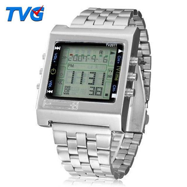 TVG Nuevo Rectángulo reloj Digital Del Deporte de Alarma de Control Remoto TV DVD remoto Señoras de Los Hombres de Acero Inoxidable Reloj de pulsera de Moda casual
