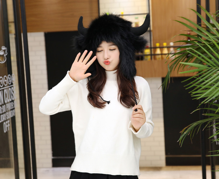2017 Winter Faux Fox Fur Caps for Women Warm Bomber Hats with Ears Girls Novelty Cartoon Animals Party Caps Female Hats Gift 11