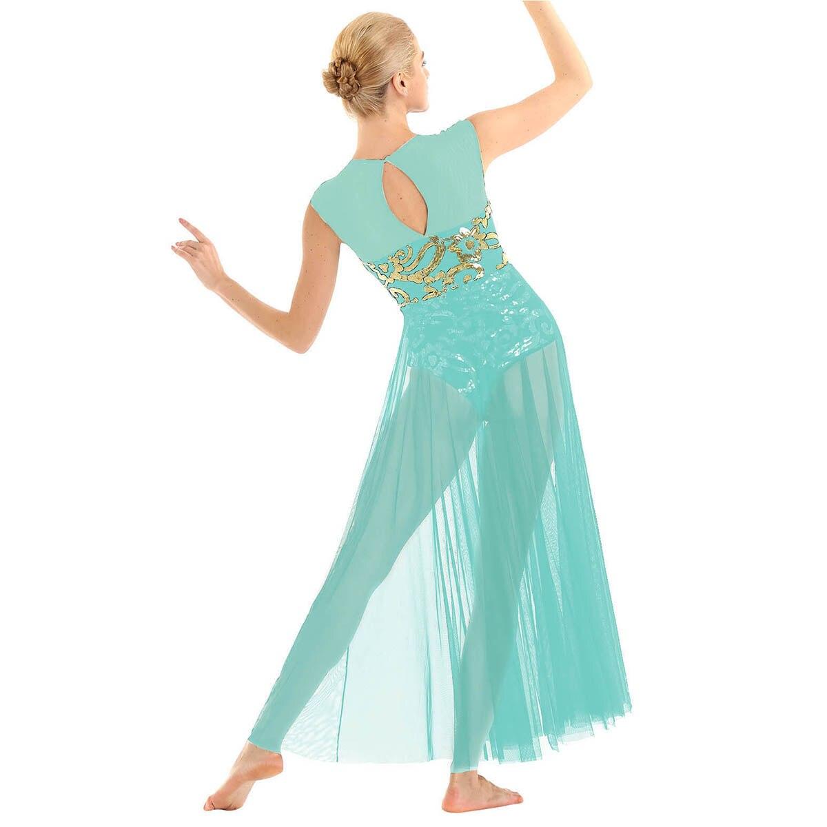 Image 2 - Women Ballet Tutu Skirt Floral Sequins Shiny Tank Leotard Maxi Dress for Modern Lyrical Praise Contemporary Stage Dance CostumeBallet   -