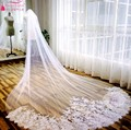 White Wedding Veil Long 175cm Lace Appliques Free Shipping Bridal Veil birdcage veil