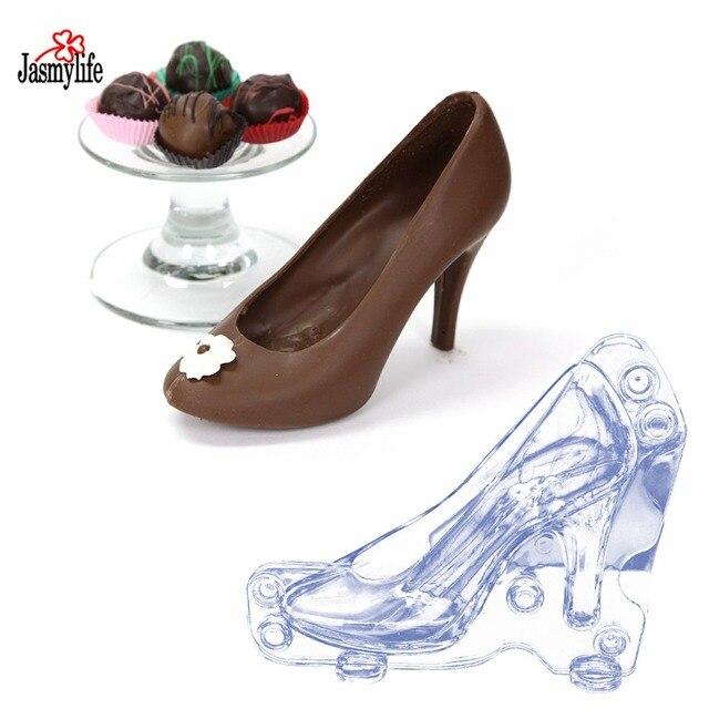 Plástico zapatos de tacón alto en forma de Chocolate molde Fondant Cake  decoración molde decorativo pastel 55328e67e703