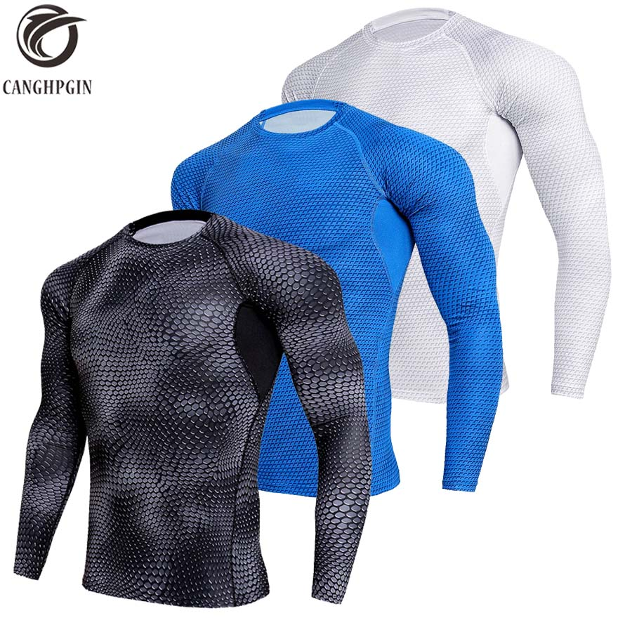 CANGHPGIN Long Sleeve Sport Shirt Men Quick Dry Men's Running T-shirts Compression Tights Men Gym Soccer Jerseys Rashgard Male yd new long sleeve sport shirt men tights with zipper quick dry men s running t shirt sportswear mens t shirts fitness rashgard