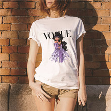 Showtly  VOGUE Letter And Fashion Women Girl Print Tee Tops Summer T Shirt Casual Simple Super Soft Cotton Short Sleeve