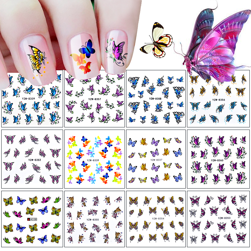 12 Designs Nail Sticker Butterfly Patterns Decals Water Transfer Image Tattoos Nail Art Decorations Sticker Tips Set one piece chic heart butterfly patterns nail art print template