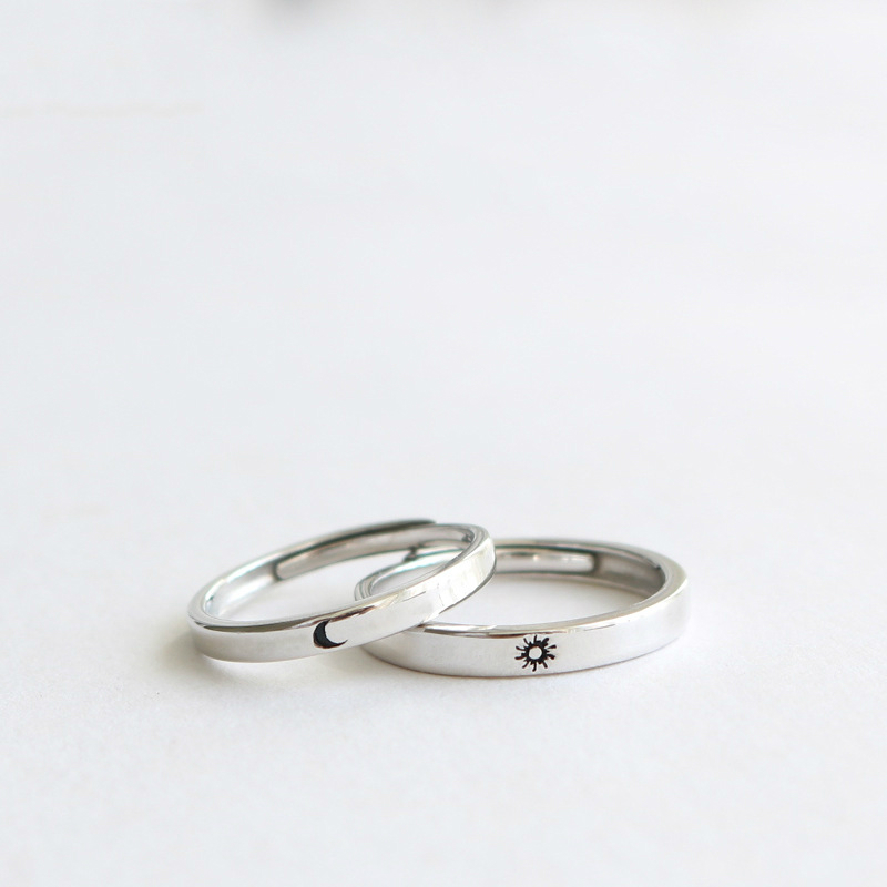 Silver Ring Simple Style Moon Sun Adjustable 925 Couple Rings For Girls Boys Best Friend Jewelry(China)