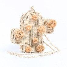New Straw Shoulder Bag Fashion Cactus Shape Rattan Natural Fashionable Braided Bags Mini