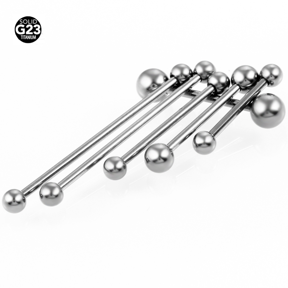 50pcs lot 14g G23 Titanium Straight Barbell Tongue Rings Pircing Body Piercing Jewelry SGS Certification Free
