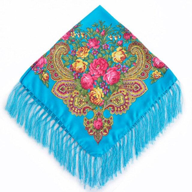 2017 New Fashion Women Square Winter Wrap Scarf Luxury Brand Lady Tassel Bandana Shawl Floral Designer Poncho Hot Sale Headband