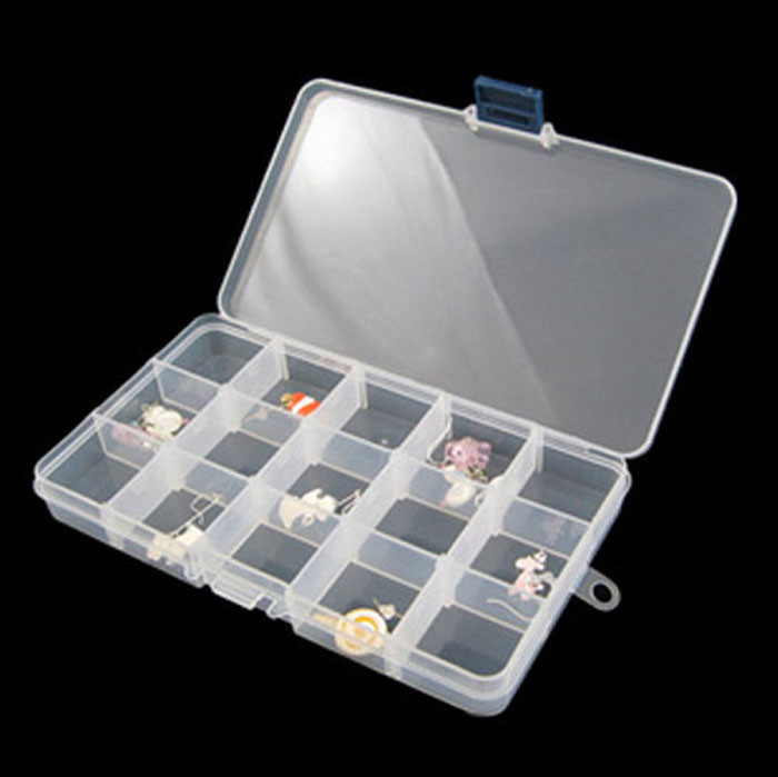 15 Grids Transparent Storage Case Jewelry Holder Pills Nail Art Tips