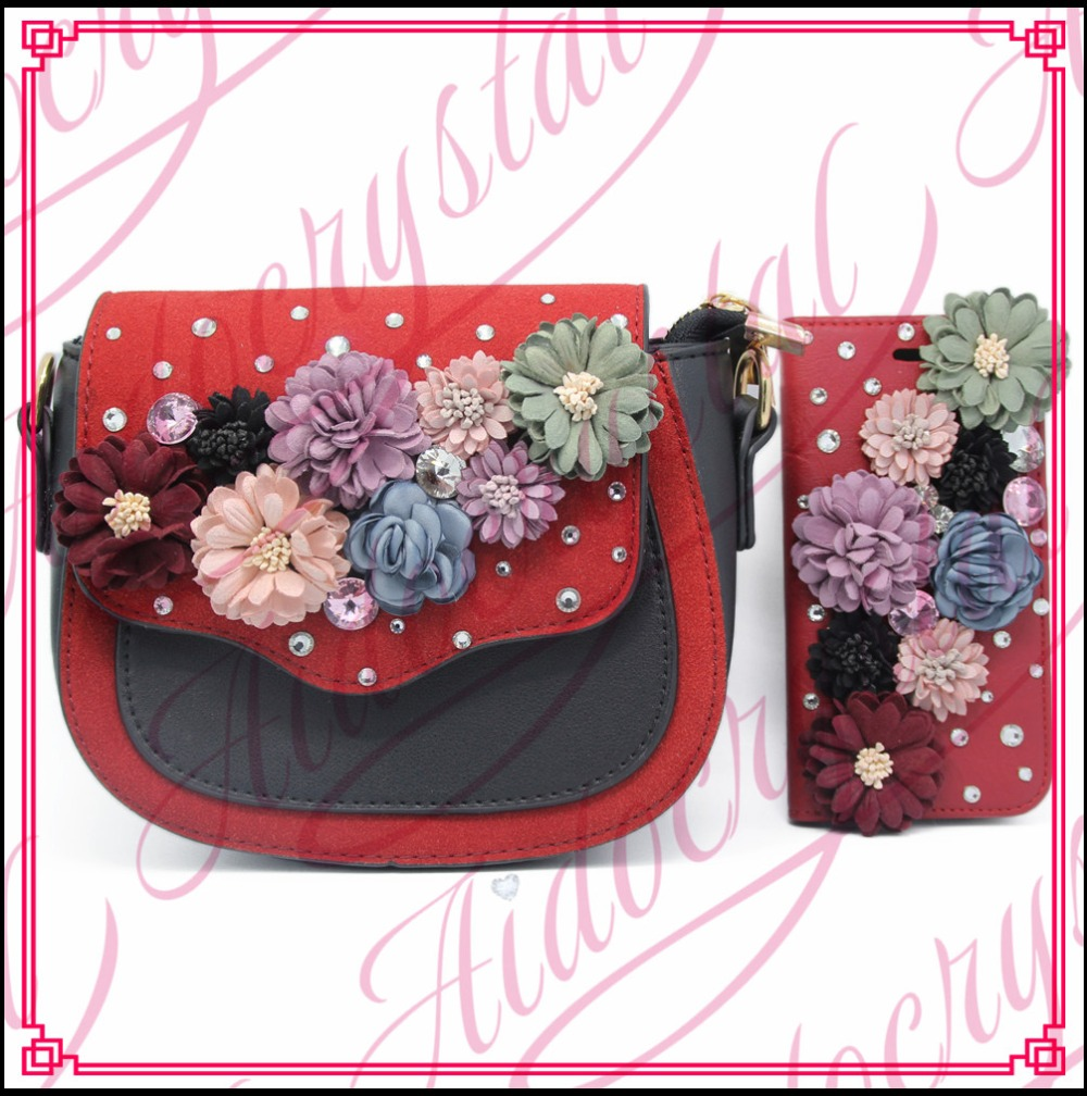 ФОТО Aidocrystal handmade Red Black mini handbag with crystal flower decor Rural style Bag and Matching Phone Case For Girls