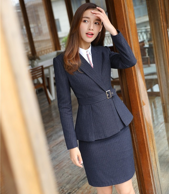 f08f09962c New Style 2019 Formal Office Uniform Designs Women Business Suits Skirt and  Jacket Sets Ladies Black Blazer Fashion