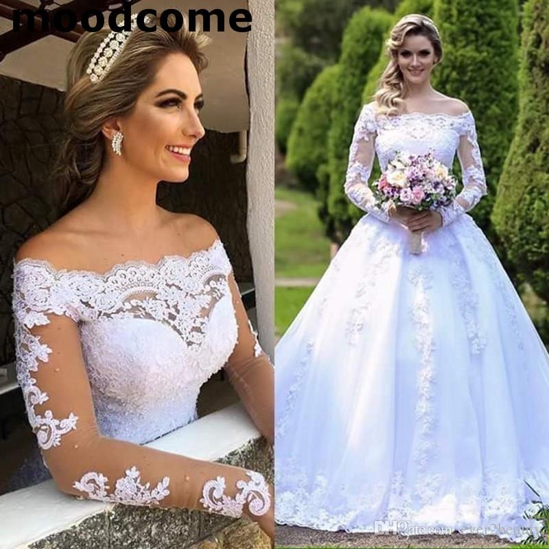 2019 Robes De Noiva Robes De Mariée Princesse Jardin Off Épaules Sheer Manches Longues Perlé Arabe Robe De Mariage De Mariée