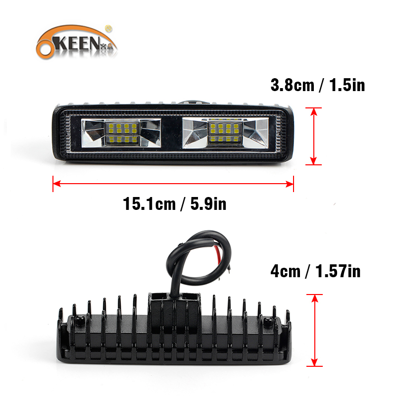 Image 4 - OKEEN Super Bright LED Work Light 48W Offroad Car 4WD Truck Tractor Boat Trailer 4x4 SUV ATV 12V Flood LED Light Bar Fog Lamp-in Light Bar/Work Light from Automobiles & Motorcycles