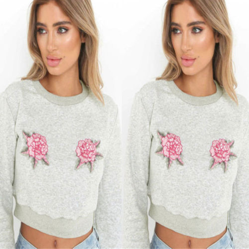 278fc6bdcdd8 Women's Lady Slim Long Sleeve Casual Hoodies Sweatshirts Crop Tops Fashion  Embroidered Outfit-in Hoodies & Sweatshirts from Women's Clothing on ...