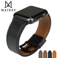 MAIKES Qualität Leder Uhr Strap Ersatz Für Apple Uhr Band 44mm 40mm 42mm 38mm Serie 4 3 2 1 iWatch Armband