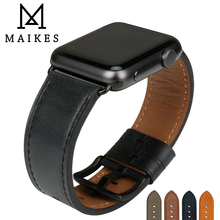 MAIKES Quality Leather Watch Strap Replacement For Apple Watch Band 44mm 40mm 42mm 38mm Series 4 3 2 1 iWatch Watchband leather band for apple watch 40mm 44mm series 4 high quality mixed color replacement strap for iwatch series 1&2&3 38mm 42mm