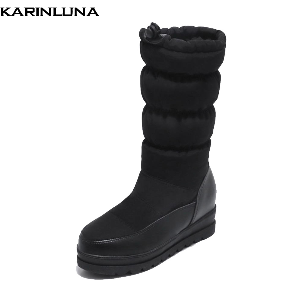 EntrüCkung Karinluna Neue Mode Dropship Große Größe 33-43 Slip Auf Casual Schnee Stiefel Frauen Schuhe Wasserdicht Warme Stiefel Frau Wadenhohe Stiefel