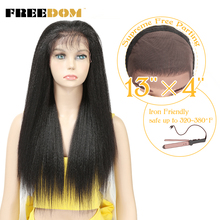 цены на FREEDOM Synthetic Lace Front Wigs For Black Women Yaki Straight Long 26inch 65cm Afro Lace Wig Baby Hair Heat Resistant Fiber  в интернет-магазинах