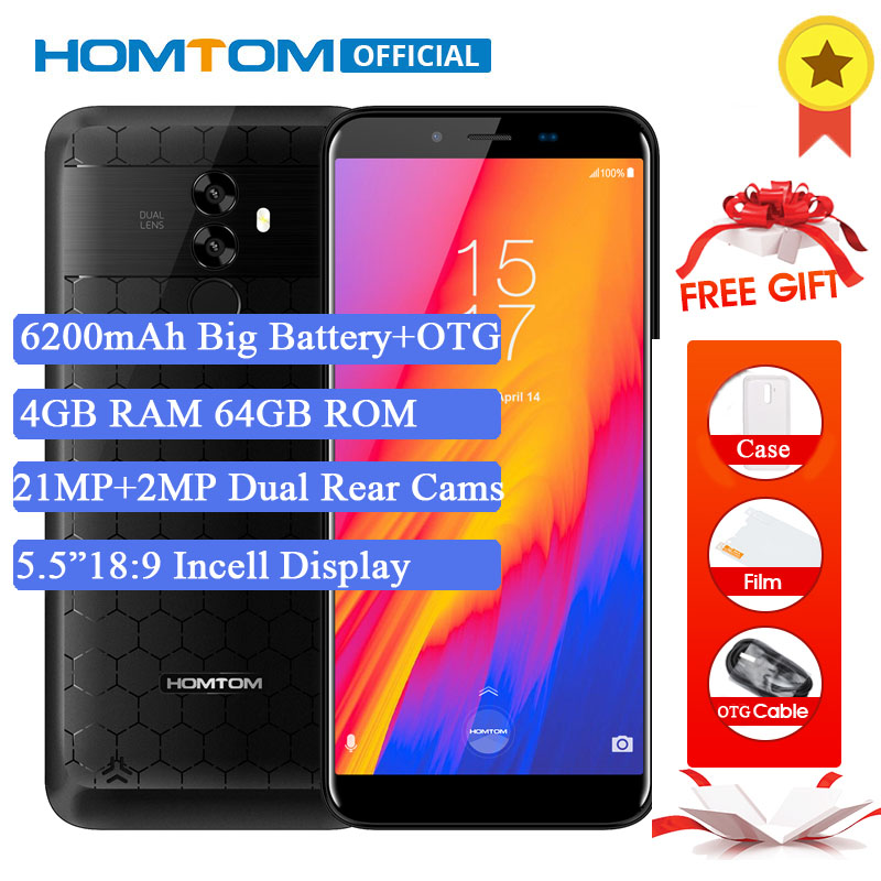 Original HOMTOM S99 5,5 Incell HD + teléfono móvil 18:9 Android 8,0 MTK6750T Octa Core 4 GB RAM 64 GB ROM 6200 mAh batería cara ID OTG
