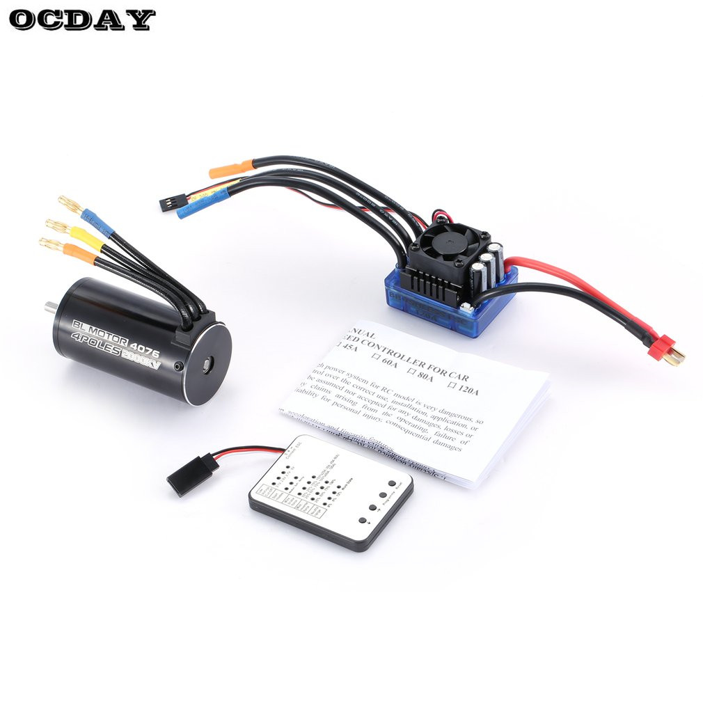 4076 2000KV 4 poles Sensorless Brushless Motor 120A ESC with LED Programming Card Combo Set for 1/8 RC Car Truck Accessories Hot racerstar 120a esc brushless waterproof sensorless 1 8 rc remote radio car parts