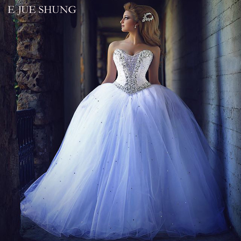 E JUE SHUNG Crystals Ball Gown Luxury Wedding Dresses Sleeveless Lace Up Back Wedding Gowns Robe De Mariee