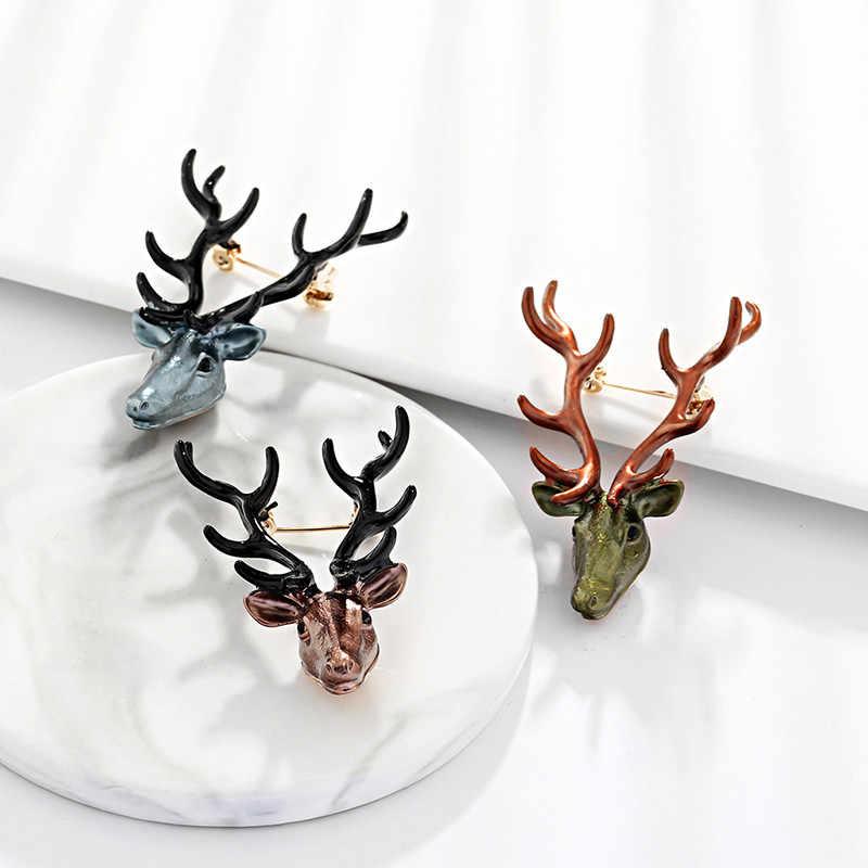 2019 мода сплав брошка в форме оленя Longhorn лося Броши женское вечернее платье брошка для пальто Свадебные украшения Одежда Аксессуары