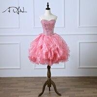 ADLN короткое коктейльное платье из органзы трапециевидной формы изящное, Расшитое Бисером Платье Vestidos de Soiree настоящая фотография розовый Вы
